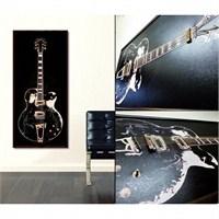 Gerçek Telli Ve Çerçeveli Siyah Gitar Tablosu 35X90 Cm