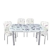 Mutfak Cam Masa Takımı Otomatik Açılır Beyaz Paris Desen (6 Suni Deri Sandalyeli)