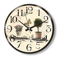 Time Gold Side Duvar Saati Saksı Kelebek
