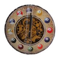 Bilardo Figürlü Duvar Saati