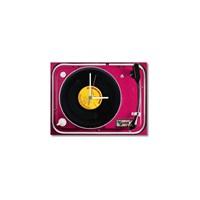 Tictac Gerçek 45'Lik Plaklı Pikap Görünümlü Kanvas Saat - Pembe