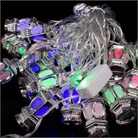 Puzmo Gri 16 Ampüllü Fener Şekilli Yılbaşı Dekoratif Işık 4 Metre