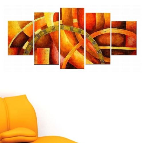 Tictac Design 5 Parçalı Kanvas Tablo Çemberler