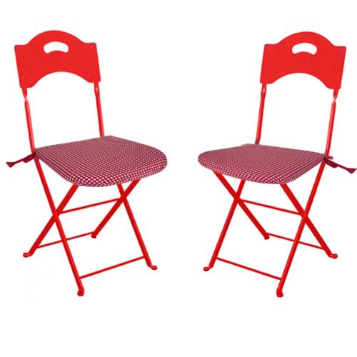 Aliz 2 li Sandalye Minderi - Kırmızı Kareli