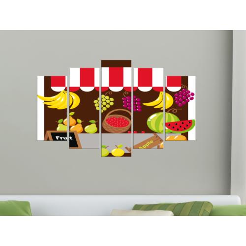 K Dekorasyon Meyveler 5 Parçalı Mdf Tablo KM-5P 2237