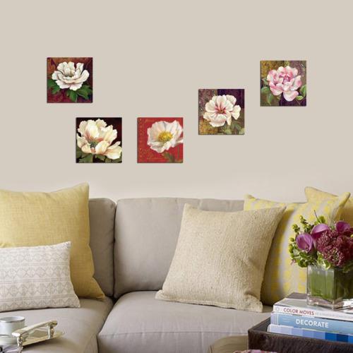 Dekorjinal 5 Parçalı Dekoratif Mdf Tablo Beyaz Çiçek -UTB127