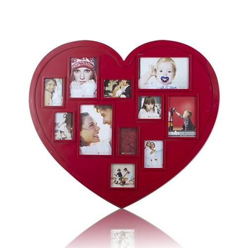 BuldumBuldum Heart Plastic Photo Frames - Kalp Fotoğraf Çerçeveleri - Siyah Ahşap (30X30Cm)