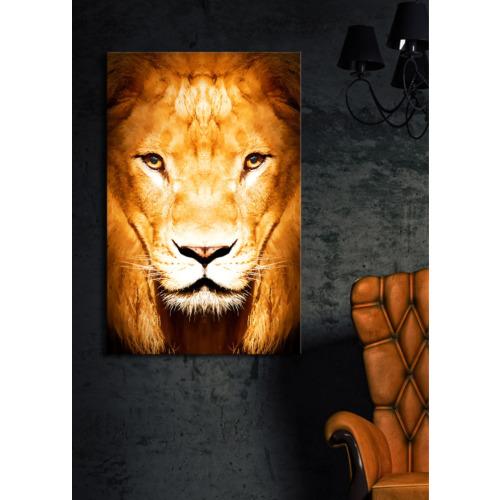 Aslan İçten Aydınlatmalı Kanvas Tablo -45X70