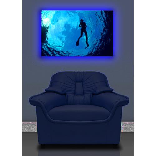 Balık Adam Arkadan Aydınlatmalı Kanvas Tablo - 45X70 Cm
