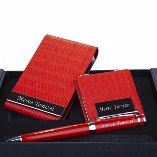 BuldumBuldum Kişiye Özel Kartvizitlik Ve Ayna Seti - Kırmızı 3'lü Set