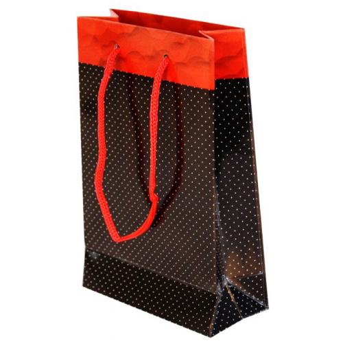 Parti Şöleni Siyah Puantiyeli Karton Çanta