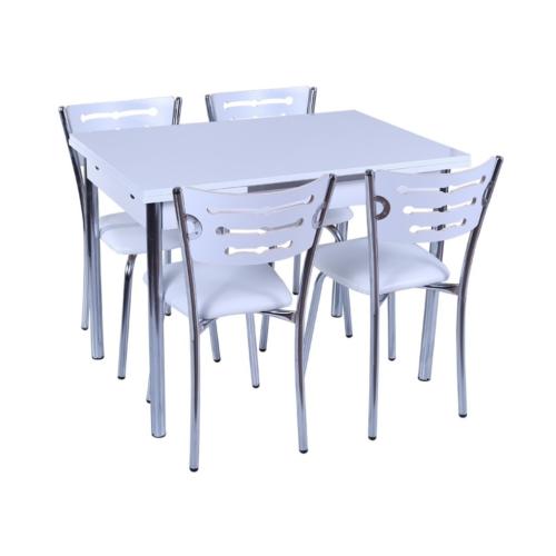 """Derman Yatak Mutfak Masa Sandalye Takımı """"Açılır"""" +4 Sandalyeli Beyaz"""