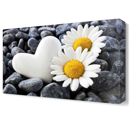 Dekor Sevgisi Taş Kalp ve Papatyalar Tablosu 45x30 cm