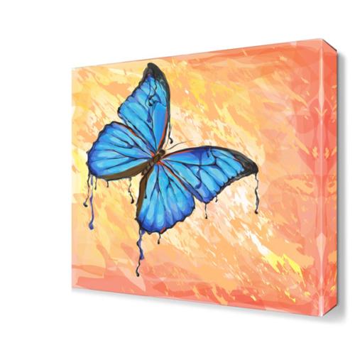 Dekor Sevgisi Mavi Kelebek Dekoratif Tablo 40x40 cm