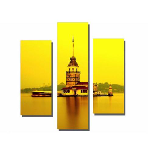 Dekor Sevgisi 3 Parçalı Sarı Kız Kulesi Tablosu 80x80 cm