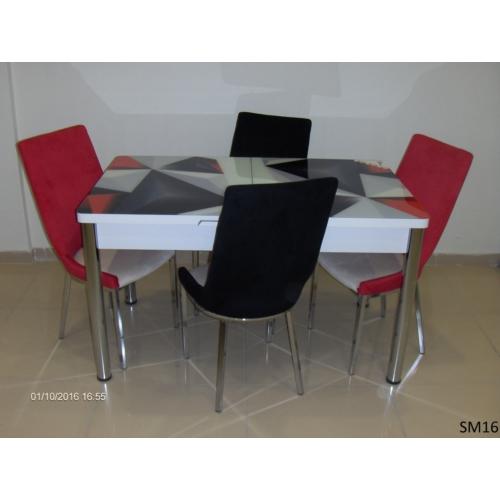 Teknoset Mutfak Masa Takımı Sm16Kırmızı-Siyah