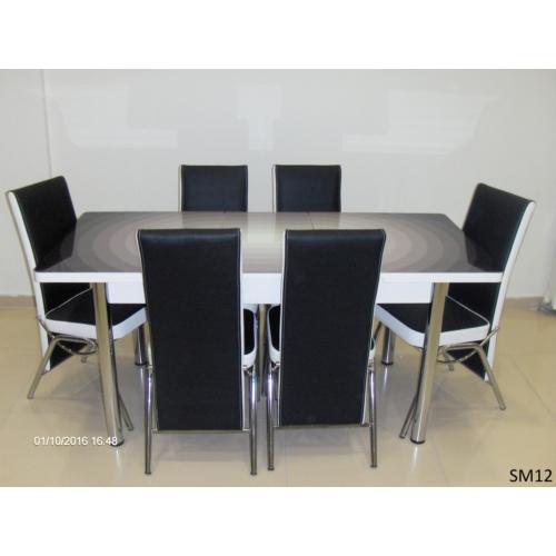 Teknoset Mutfak Masa Takımı Sm12Siyah-Beyaz