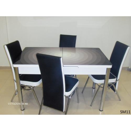 Teknoset Mutfak Masa Takımı Sm11Siyah-Beyaz