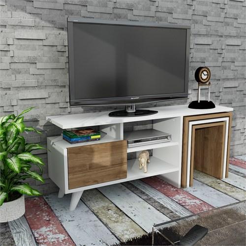 Dekorister Nature Tv Ünitesi Beyaz-Ceviz