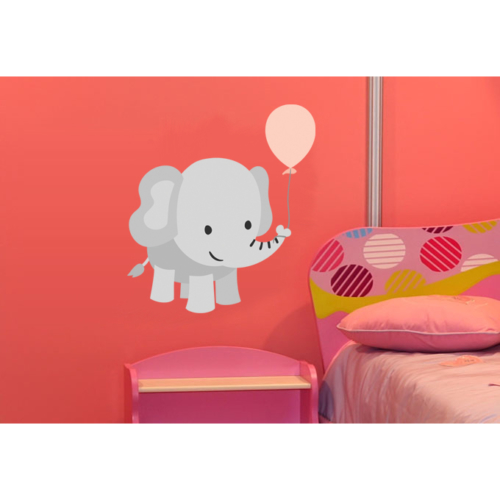Pembe Balon ve Fil Duvar Sticker 72 x 80 cm