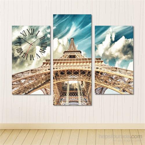 Tabloshop - Eiffel Tower Tablo Saat - 81X60cm - Çerçeve Hediye