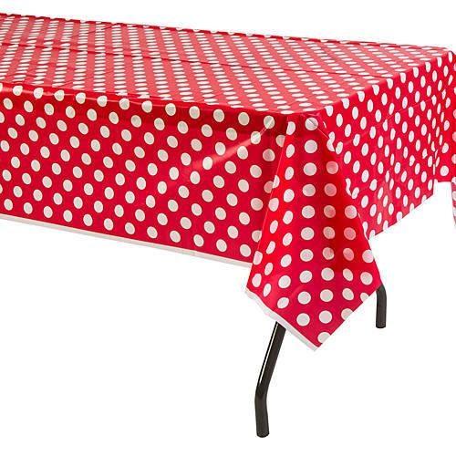 Partisepeti Kırmızı Puanlı Masa Örtüsü