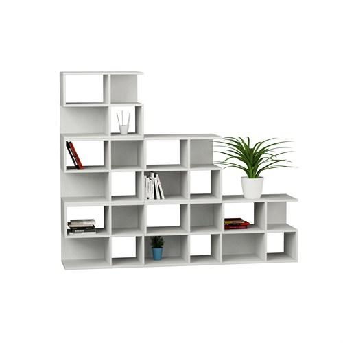 Decortie Aaron Corner Kitaplık 6Lı Set Beyaz