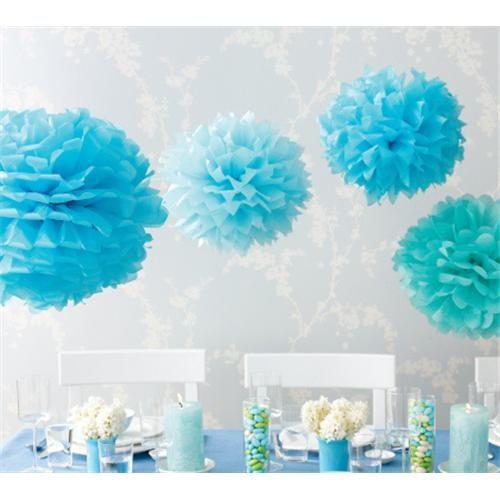 Partisepeti Ponpon Çiçek Süs Mavi