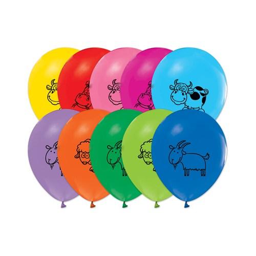 KullanAtMarket Çiftlik Hayvanları Baskılı Balon