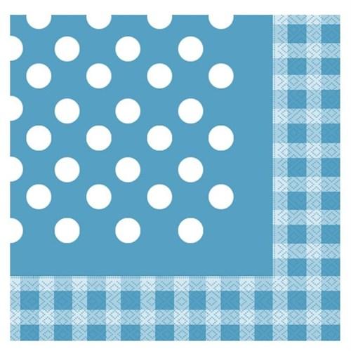 Pandoli Kağıt Parti Peçetesi 20 Adet Mavi Kareli Puanlı 33 Cm