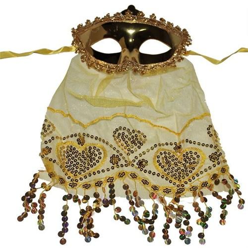 Pandoli Sarı Renk Peçeli Eğlence Maskesi