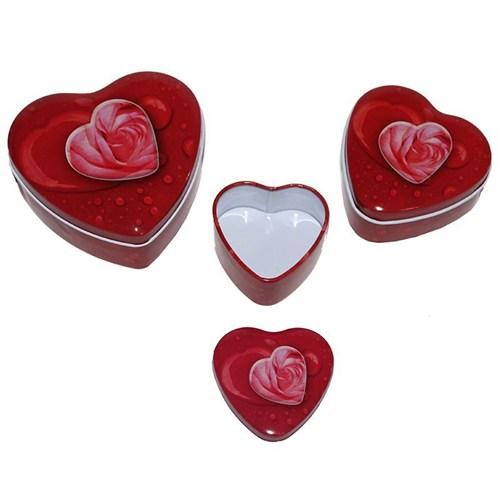 Pandoli Metal Kırmızı Renk 3'Lü Güllü Kalp Şeklinde Hediye Kutusu