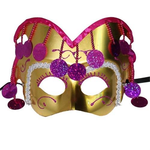 Pandoli Pullu Altın Renk Soytarı Maskesi