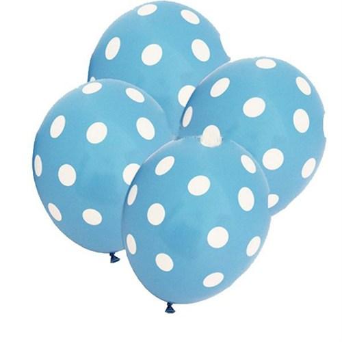 Pandoli Bebek Mavisi Beyaz Puanlı Baskılı Latex Balon 25 Adet