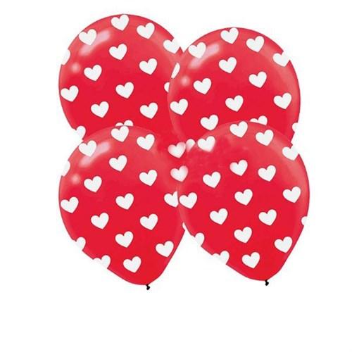 Pandoli Kırmızı Kalp Baskılı Latex Balon 25 Adet