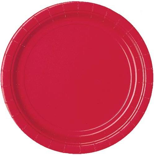 Parti Paketi Kırmızı Büyük Tabak 8'Li