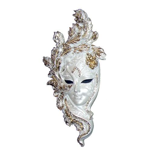 Gold Dekor Tavuskuşu Maske Beyaz Sedefli