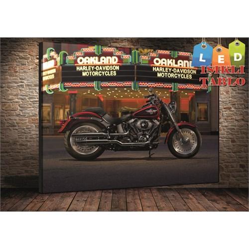 Tablo İstanbul Harley Davidson Motor Led Işıklı Kanvas Tablo 45*65 Cm