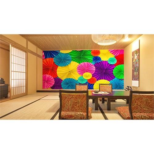 Iwall Resimli Renkli Şemsiyeler Duvar Kağıdı 250X180