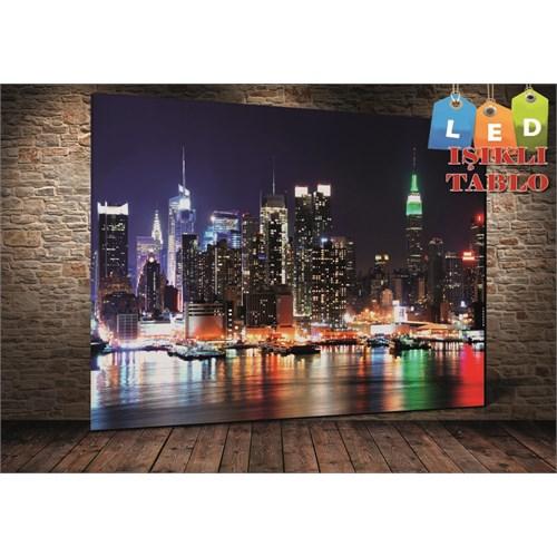 Tablo İstanbul New York Renkli Geceler Led Işıklı Kanvas Tablo 45 X 65 Cm