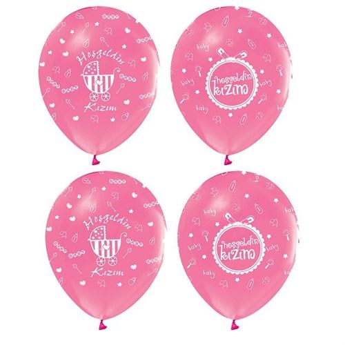 Pandoli 25 Adet Pembe Hoşgeldin Kızım Baskılı Latex Balon