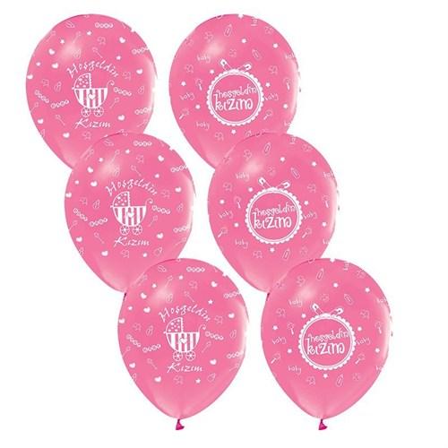 Pandoli 100 Adet Pembe Hoşgeldin Kızım Baskılı Latex Balon