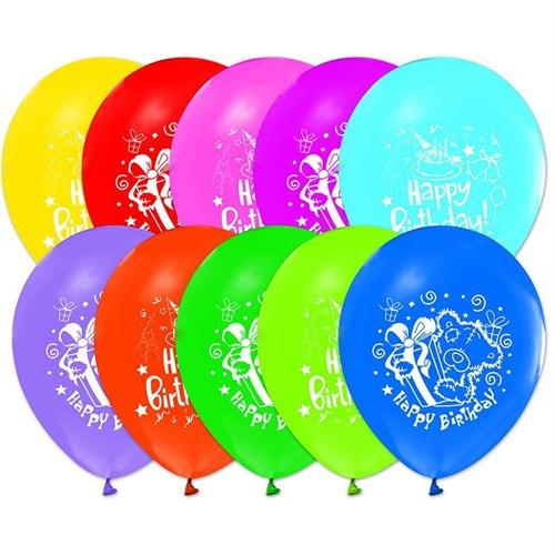 Pandoli 100 Adet Happy Birthday Baskılı Renkli Latex Balon