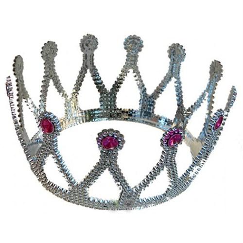Pandoli Gümüş Renk Kraliçe Tacı Plastik