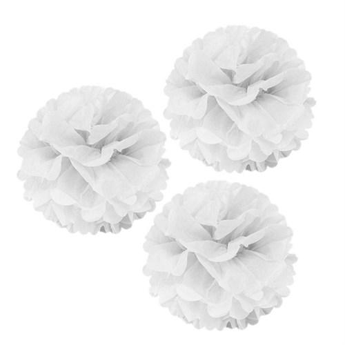 Pandoli 3 Lü Beyaz Renk Pelur Kağıt Ponpon Çiçek Asma Süs 25 Cm