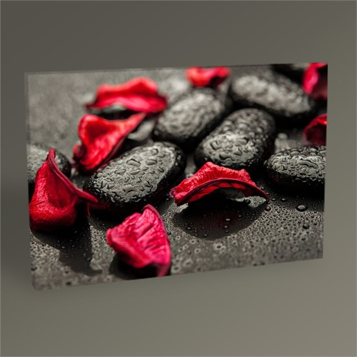 Tablo 360 Siyah Taşlar Ve Kırmızı Yapraklar 45X30