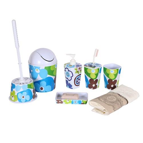 Bosphorus Mavi Papatya Melamin Banyo Set 5 Li