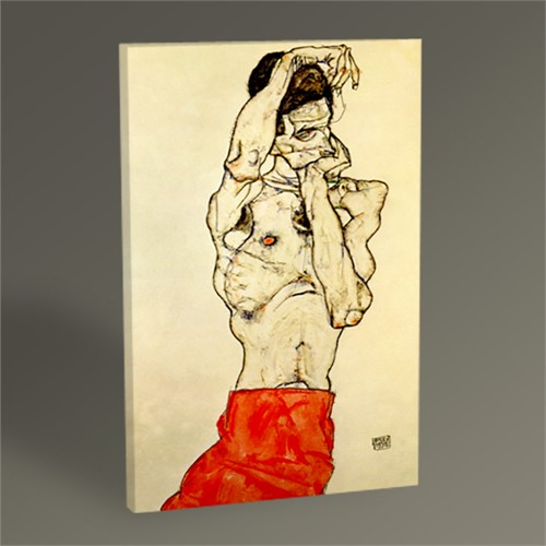 Tablo 360 Egon Schiele Standing Male Nude with a Red Loincloth 60X40