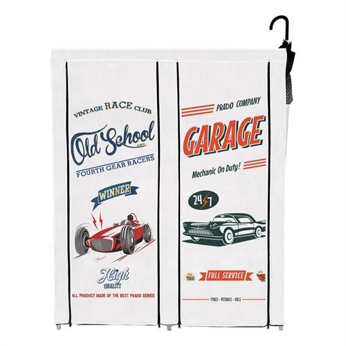 2 Bölmeli Çok Amaçlı Bez Dolap Ayakkabılık - Old Garage