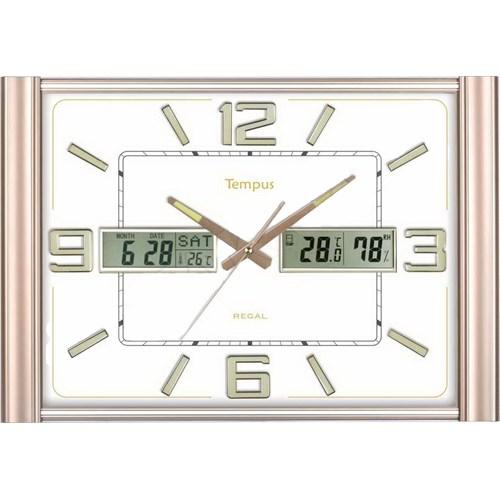 Regal 0508-Awz Takvimli Fosforlu Isı Ve Nem Ölçer Duvar Saati